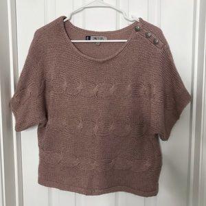 Jennifer Lopez Dusty Pink Sweater Short Sleeve Top